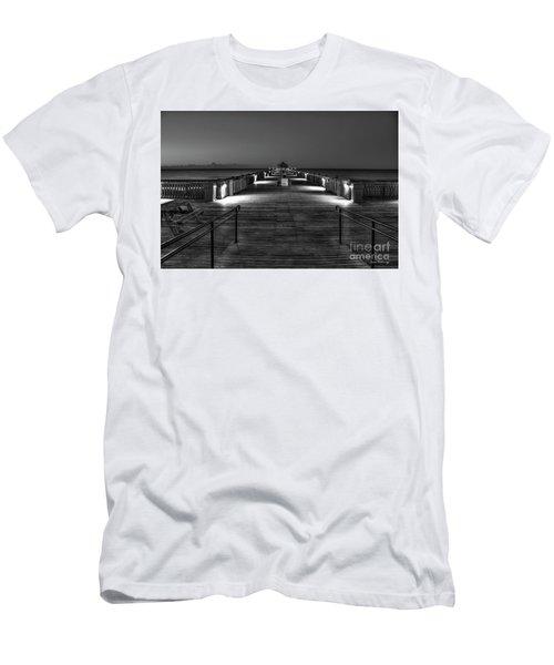 Men's T-Shirt (Slim Fit) featuring the photograph Before Dawn Folly Beach Pier Charleston Sc Art by Reid Callaway