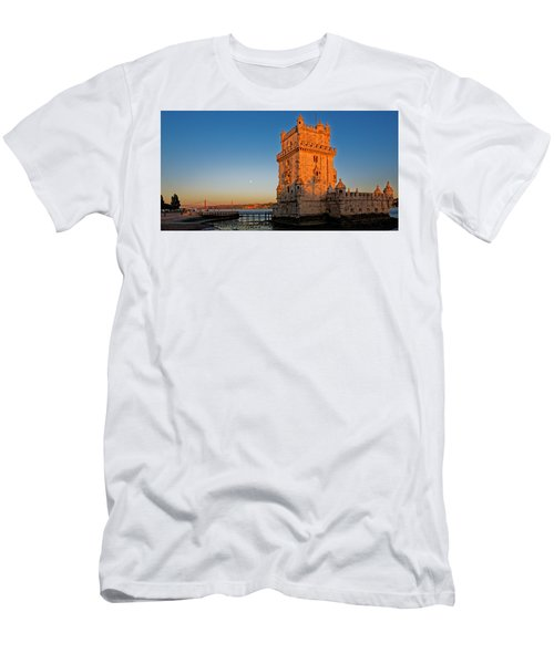 Belem Tower And The Moon Men's T-Shirt (Athletic Fit)