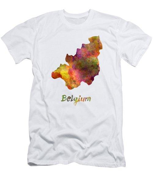 Belgium In Watercolor Men's T-Shirt (Athletic Fit)