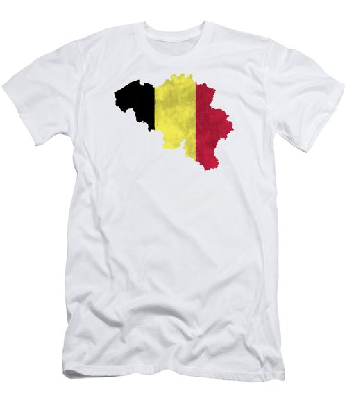 Belgium Map Art With Flag Design Men's T-Shirt (Athletic Fit)