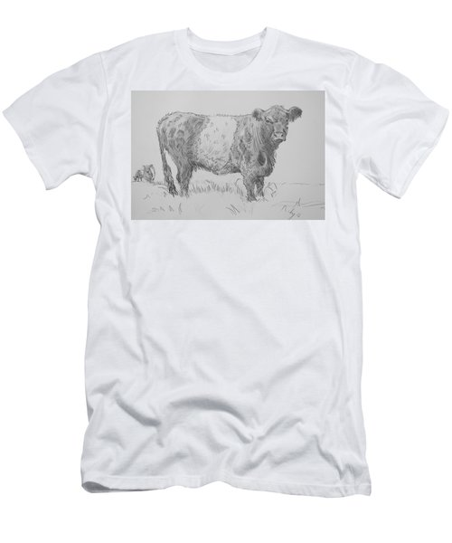 Belted Galloway Cow Pencil Drawing Men's T-Shirt (Athletic Fit)