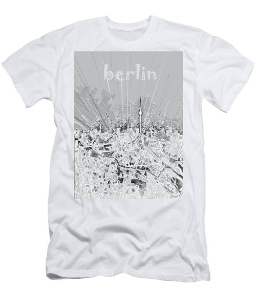 Berlin City Skyline Map 2 Men's T-Shirt (Slim Fit) by Bekim Art