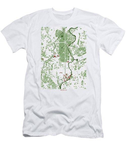 Berlin Minimal Map Men's T-Shirt (Slim Fit) by Jasone Ayerbe- Javier R Recco