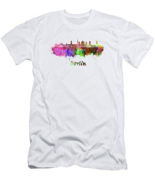 Berlin V2 Skyline In Watercolor Men's T-Shirt (Slim Fit) by Pablo Romero