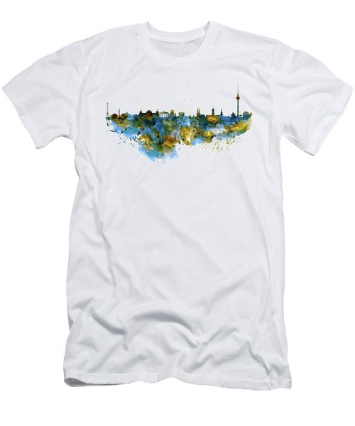 Berlin Watercolor Skyline Men's T-Shirt (Athletic Fit)