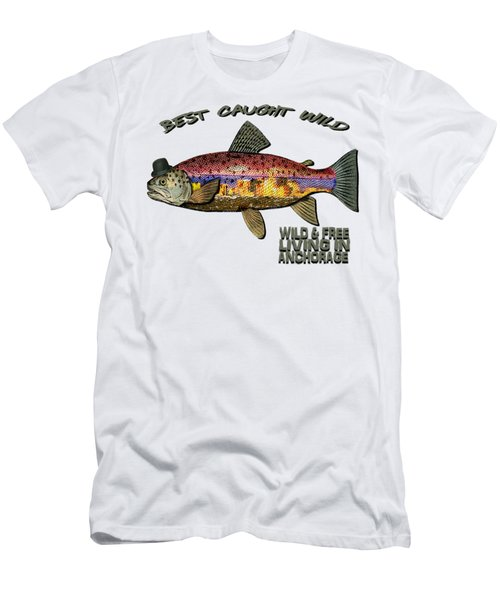 Men's T-Shirt (Slim Fit) featuring the digital art Fishing - Best Caught Wild On Light by Elaine Ossipov