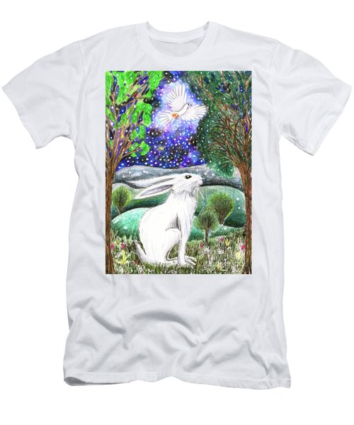 Men's T-Shirt (Athletic Fit) featuring the painting Between The Trees by Lise Winne