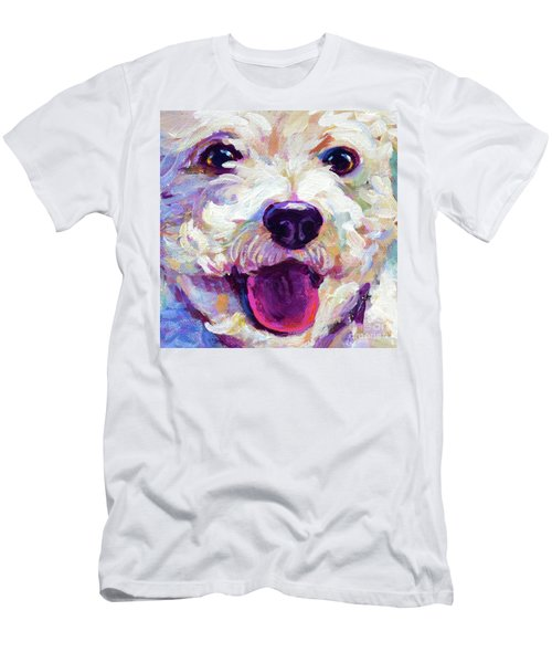 Men's T-Shirt (Slim Fit) featuring the painting Bichon Frise Face by Robert Phelps