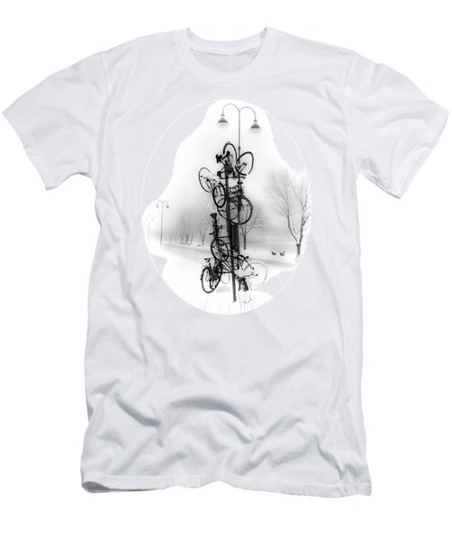 Men's T-Shirt (Slim Fit) featuring the photograph Bicycle Lamppost In Winter by Menega Sabidussi