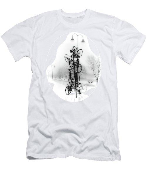 Bicycle Lamppost In Winter Men's T-Shirt (Slim Fit) by Menega Sabidussi