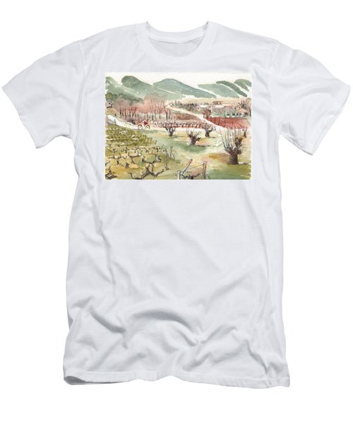 Men's T-Shirt (Slim Fit) featuring the painting Bicycling Through Vineyards by Tilly Strauss