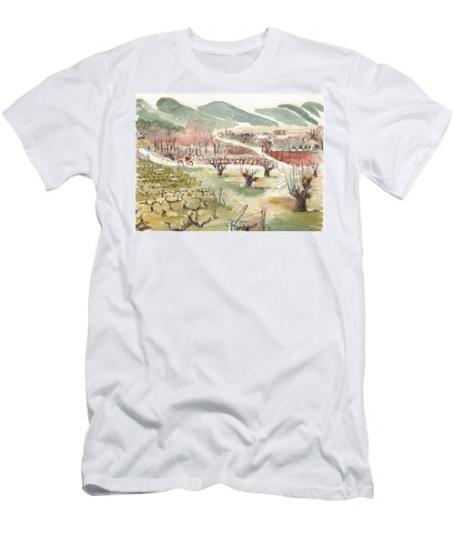 Bicycling Through Vineyards Men's T-Shirt (Athletic Fit)