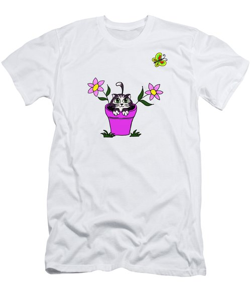 Big Eyed Kitten In Flower Pot Men's T-Shirt (Slim Fit) by Lorraine Kelly