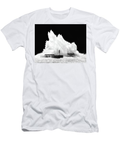 Big Wave Breaking On Breakwater Men's T-Shirt (Athletic Fit)