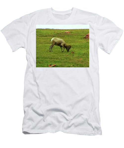 Men's T-Shirt (Slim Fit) featuring the digital art Bighorn Sheep Grazing by Chris Flees