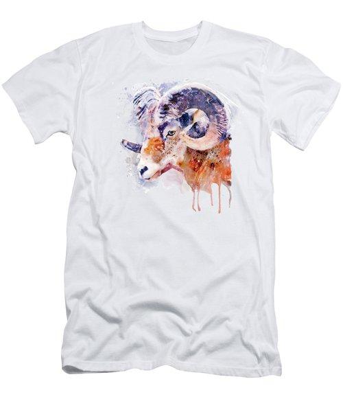 Bighorn Sheep Watercolor Portrait Men's T-Shirt (Athletic Fit)