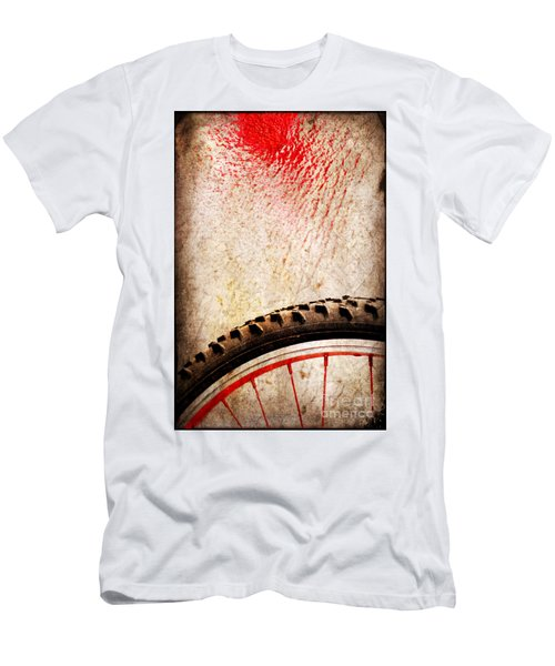 Bike Wheel Red Spray Men's T-Shirt (Athletic Fit)