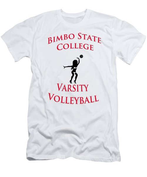 Men's T-Shirt (Slim Fit) featuring the drawing Bimbo State College - Varsity Volleyball by Bill Cannon