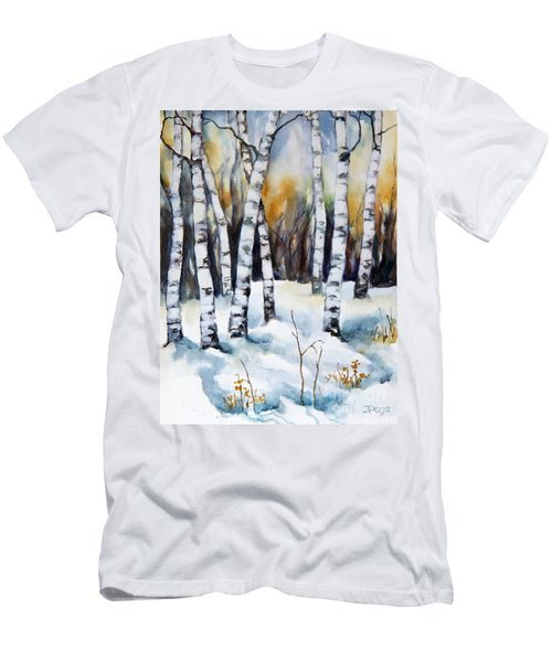 The White Of Winter Birch Men's T-Shirt (Slim Fit) by Inese Poga