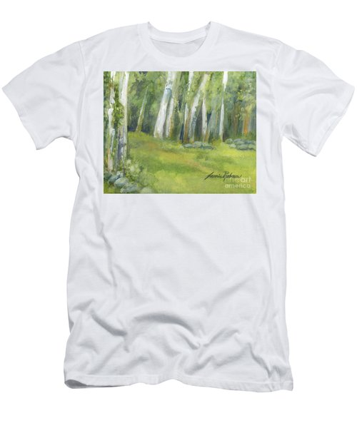Birch Trees And Spring Field Men's T-Shirt (Athletic Fit)
