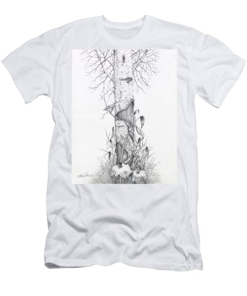 Bird In Birch Tree Men's T-Shirt (Athletic Fit)