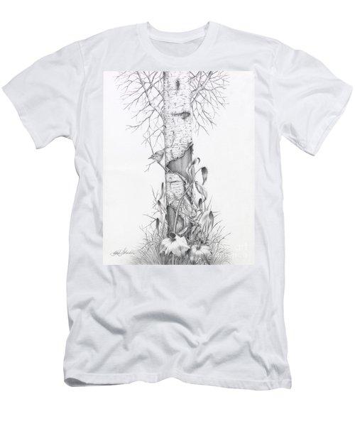 Bird In Birch Tree Men's T-Shirt (Athletic Fit)