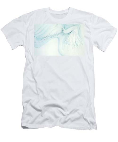 Men's T-Shirt (Slim Fit) featuring the drawing Bird In Flight by Denise Fulmer