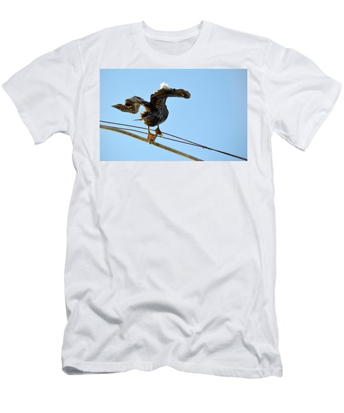 Men's T-Shirt (Athletic Fit) featuring the photograph Bird On The Wire by AJ Schibig
