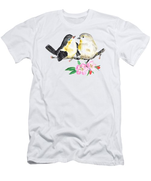 Birds And Apple Blossom Men's T-Shirt (Slim Fit) by Color Color