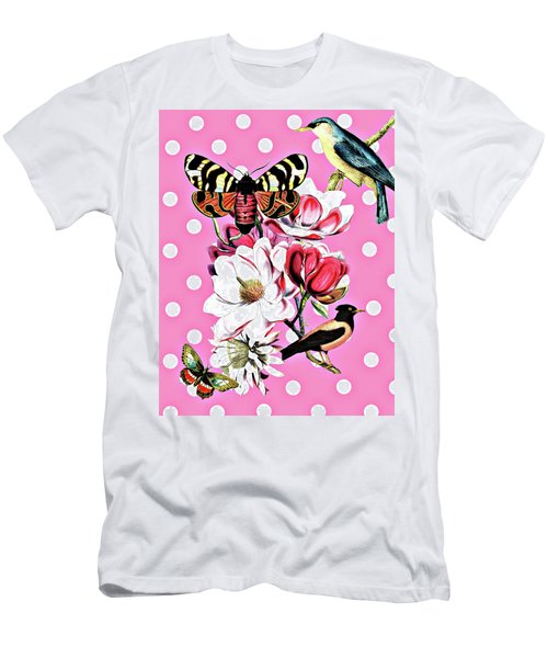 Birds, Flowers Butterflies And Polka Dots Men's T-Shirt (Athletic Fit)