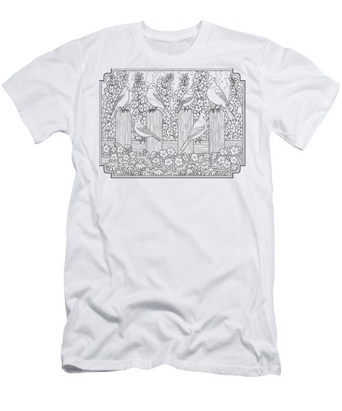 Birds In Flower Garden Coloring Page Men's T-Shirt (Slim Fit) by Crista Forest