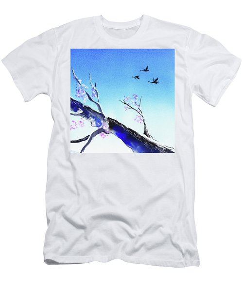 Birds In The Blue Sky Watercolor  Men's T-Shirt (Athletic Fit)