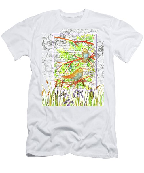 Men's T-Shirt (Slim Fit) featuring the painting Bluebirds Nature Collage by Cathie Richardson
