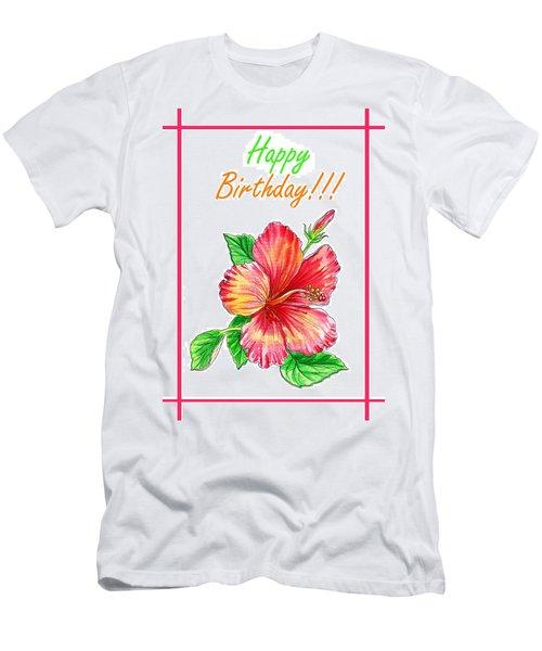 Birthday Hibiscus Men's T-Shirt (Athletic Fit)
