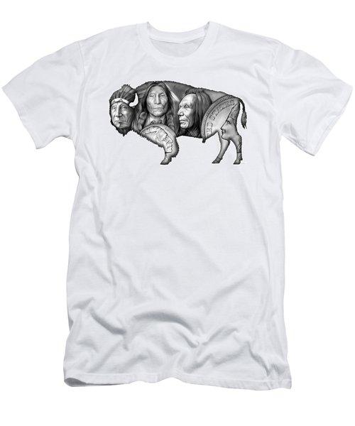 Bison Indian Montage 2 Men's T-Shirt (Athletic Fit)