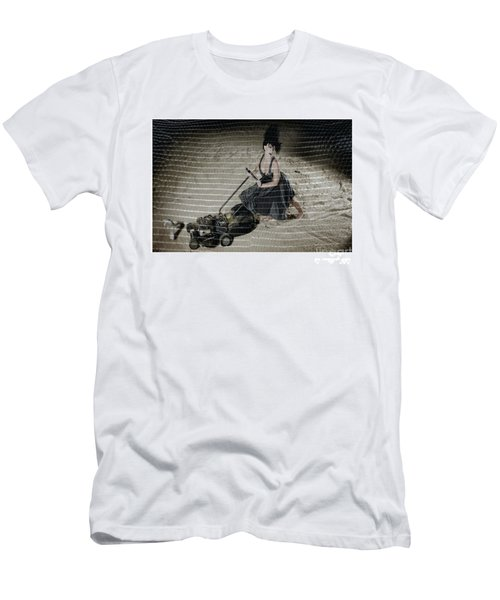 Bizarre Girl With Lawn Mower On Beach Men's T-Shirt (Slim Fit) by Michael Edwards