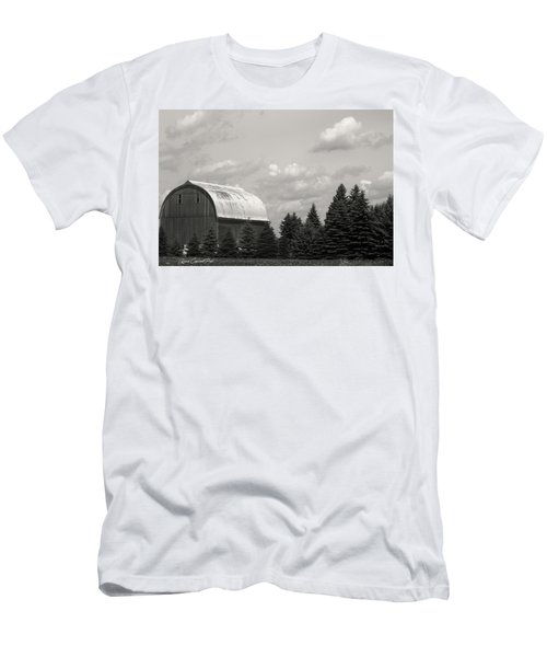 Men's T-Shirt (Slim Fit) featuring the photograph Black And White Barn by Joann Copeland-Paul
