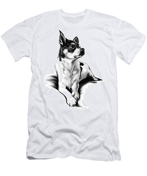Black And White Chihuahua By Spano Men's T-Shirt (Slim Fit) by Michael Spano