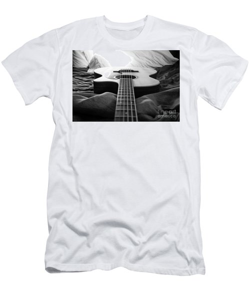 Men's T-Shirt (Slim Fit) featuring the photograph Black And White Guitar by MGL Meiklejohn Graphics Licensing
