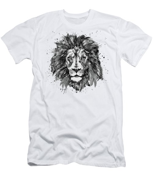 Black And White Lion Head  Men's T-Shirt (Slim Fit) by Marian Voicu