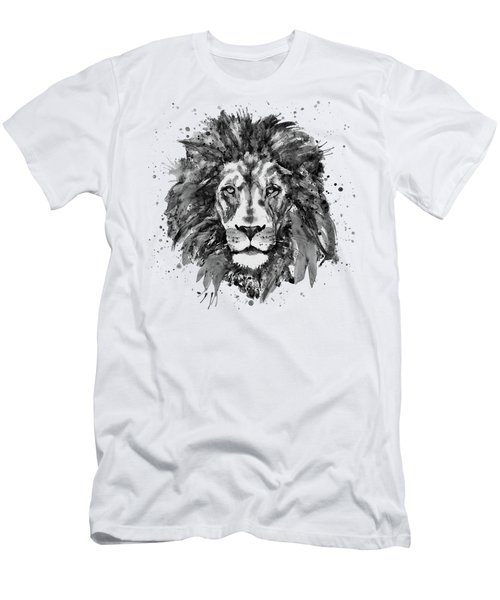 Black And White Lion Head  Men's T-Shirt (Athletic Fit)