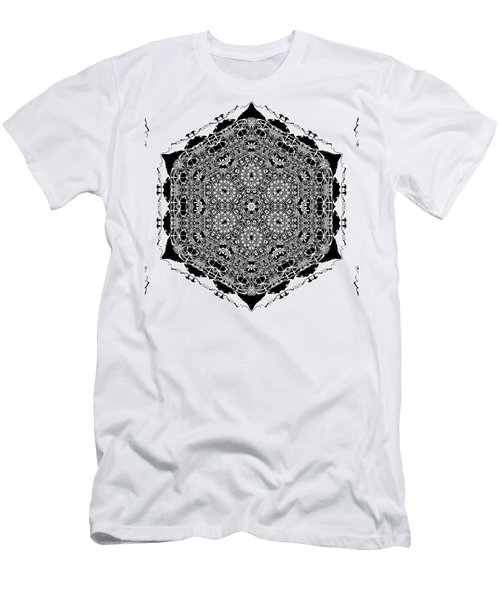 Men's T-Shirt (Athletic Fit) featuring the digital art Black And White Mandala 15 by Robert Thalmeier