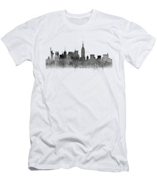 Men's T-Shirt (Athletic Fit) featuring the digital art Black And White New York Skylines Splashes And Reflections by Georgeta Blanaru