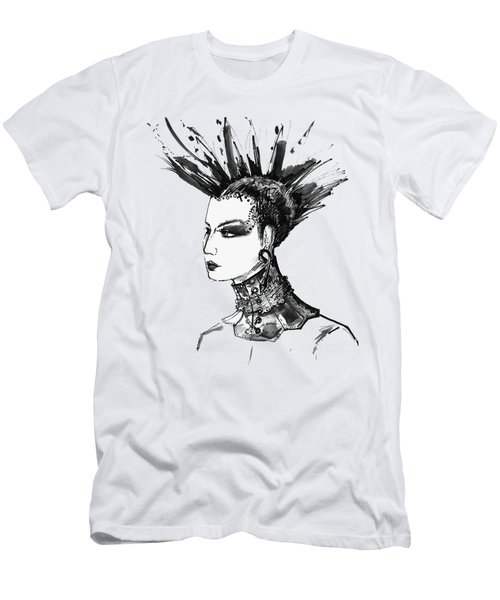Men's T-Shirt (Slim Fit) featuring the digital art Black And White Punk Rock Girl by Marian Voicu