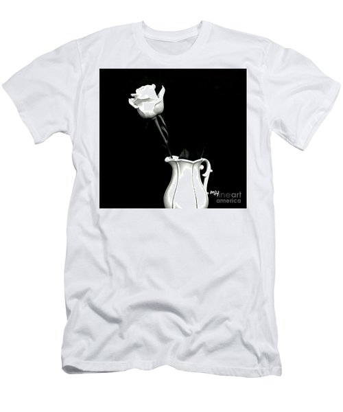 Men's T-Shirt (Slim Fit) featuring the photograph Black And White Rose Three by Marsha Heiken