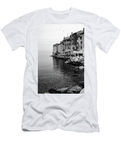 Black And White - Rovinj Venetian Buildings And Adriatic Sea, Istria, Croatia Men's T-Shirt (Athletic Fit)