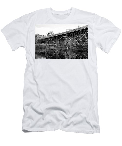 Men's T-Shirt (Athletic Fit) featuring the photograph Black And White - Strawberry Mansion Bridge - Philadelphia by Bill Cannon