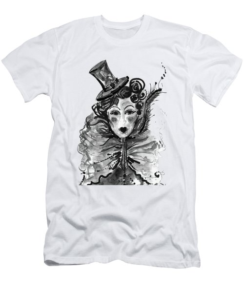 Men's T-Shirt (Slim Fit) featuring the mixed media Black And White Watercolor Fashion Illustration by Marian Voicu