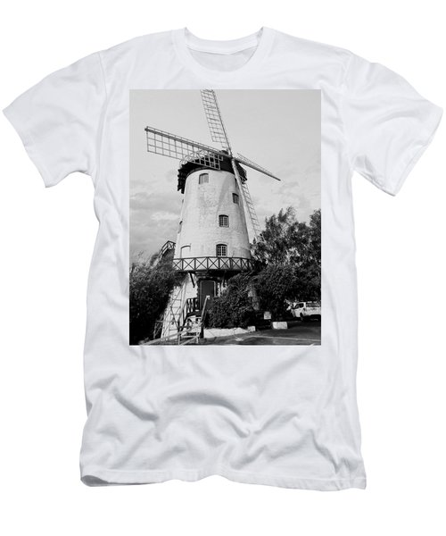 Black And White Windmill Men's T-Shirt (Slim Fit) by Sandy Taylor
