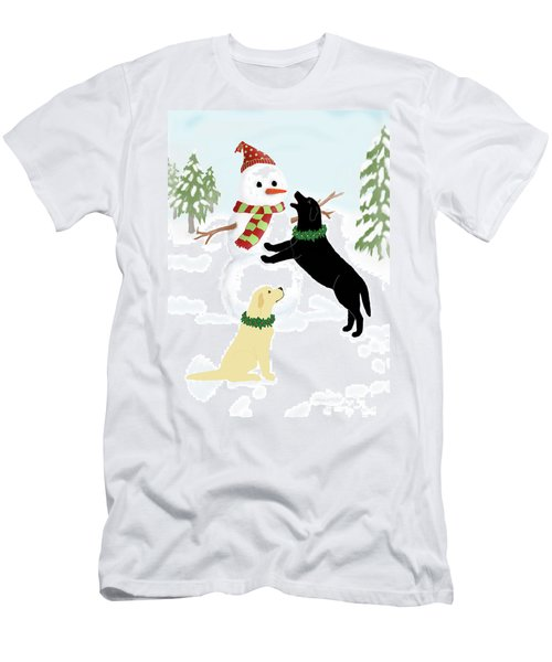Black And Yellow Labs With Snowman Men's T-Shirt (Athletic Fit)